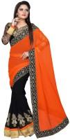 Welcome Fashion Solid, Self Design Daily Wear Georgette Saree(Orange)