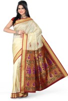 Ishin Printed Paithani Art Silk Saree(White)
