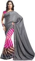 Womantra Geometric Print, Solid Fashion Chiffon Saree(Multicolor)