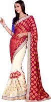 Khoobee Self Design, Embroidered, Embellished Fashion Viscose Blend, Chiffon Saree(White, Pink)