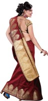 Vastrakala Solid Fashion Cotton, Silk Saree(Maroon, Gold)