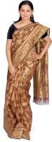 Jagadamba Self Design Fashion Silk Saree(Brown, Gold)
