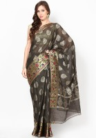 Bunkar Printed Banarasi Chanderi Saree(Black, Gold)