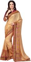 M.S.Retail Embellished Fashion Satin, Net Saree(Beige, Maroon)