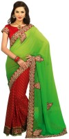 Chirag Sarees Self Design Chanderi Chanderi Saree(Red, Green)