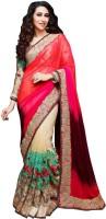 Saara Self Design Fashion Net Saree(Beige, Red)