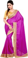 Nairiti Fashions Solid Bollywood Jacquard, Satin Saree(Pink)