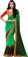 Khoobee Self Design, Embellished Fashion Georgette Saree(Green, Brown)