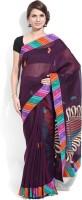 Lookslady Embroidered Fashion Cotton Saree(Purple)