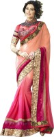 Jiya Self Design, Embroidered, Embellished Fashion Georgette Saree(Pink)