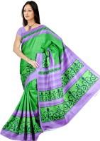 Khoobee Geometric Print Fashion Tussar Silk Saree(Green)