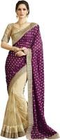 Kvsfab Embroidered Fashion Jacquard Saree(Purple, Beige)