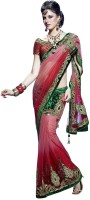 Triveni Self Design Fashion Net Saree(Red)