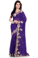 Saree Swarg Self Design Bollywood Georgette Saree(Purple)
