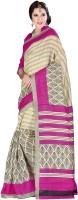 Khushali Self Design, Printed Fashion Art Silk Saree(Pink, Beige)