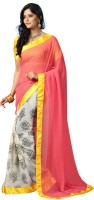Kanheyas Solid, Floral Print Bollywood Handloom Chiffon Saree(Multicolor)