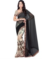 Suvastram Floral Print Fashion Chiffon Saree(Black, Beige)