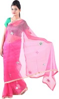 Fab Rajasthan Self Design Fashion Handloom Net Saree(Pink)