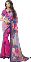 Khoobee Self Design, Embroidered, Embellished Fashion Poly Georgette Saree(Pink, Grey)