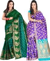 Indi Wardrobe Woven Banarasi Handloom Banarasi Silk Saree(Pack of 2, Green, Purple)