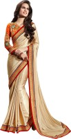Khoobee Self Design Fashion Jacquard Saree(Beige)