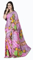 Khoobee Floral Print Fashion Poly Georgette Saree(Multicolor, Pink)