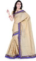 Indi Wardrobe Printed Banarasi Handloom Banarasi Silk Saree(Gold)