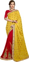 Khoobee Self Design, Embroidered, Embellished Fashion Cotton Blend, Poly Georgette Saree(Red, Yellow)