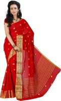 Roopkala Silks Woven Mysore Chiffon Saree(Red)