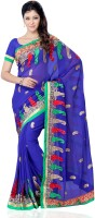 JTInternational Self Design, Solid Fashion Georgette Saree(Blue)