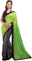 Cenizas Solid Fashion Georgette Saree(Green)