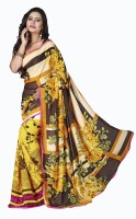 Khoobee Floral Print Fashion Poly Georgette Saree(Multicolor, Yellow)
