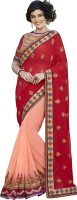 Khoobee Self Design, Embroidered, Embellished Fashion Georgette Saree(Red, Pink)