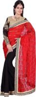 Florence Embroidered Fashion Net Saree(Red, Black)