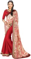 Indianbeauty Printed, Solid Bollywood Pure Georgette, Jacquard Saree(Red, White)