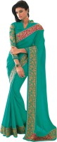 Vishal Solid Fashion Georgette Saree(Green)