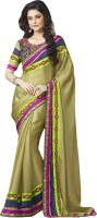 Khoobee Self Design, Embroidered, Embellished Fashion Satin Saree(Green, Blue, Multicolor)
