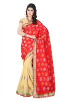 Diva Fashion-Surat Embroidered Bollywood Handloom Jacquard, Georgette Saree(Red, Beige)