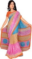 Khoobee Printed Fashion Chiffon Saree(Multicolor, Pink)