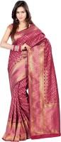 Admyrin Self Design Fashion Art Silk Saree(Maroon, Pink)