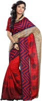 Vibes Printed Fashion Cotton Saree(Red)
