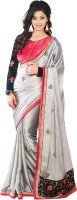 Welcome Fashion Embroidered Bollywood Handloom Synthetic Crepe Saree(Grey, Red)