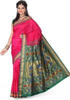 Ishin Printed Paithani Art Silk Saree(Pink)
