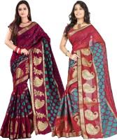 Indi Wardrobe Woven Banarasi Handloom Banarasi Silk Saree(Pack of 2, Maroon, Maroon)