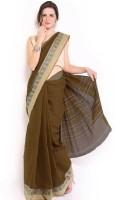 Javuli Woven Chettinadu Handloom Cotton Saree(Brown)
