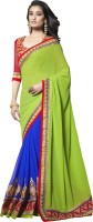 Saara Self Design Fashion Georgette Saree(Green, Blue)