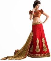Aasvaa Self Design Lehenga Saree Georgette Saree(Red)