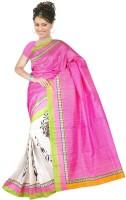 Khoobee Self Design, Printed Fashion Poly Silk Saree(White, Pink)