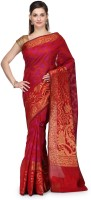 Bunkar Printed Banarasi Handloom Cotton Saree(Red, Multicolor)