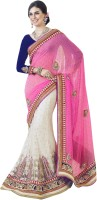 Triveni Self Design Lehenga Saree Net Saree(White, Pink)